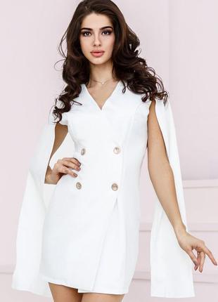 Белое Платье кейп пиджак свадьба розпись выпускной короткое