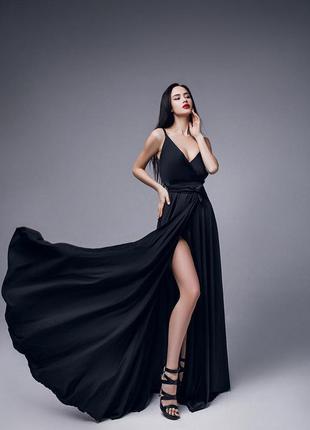 Длинное вечернее платье черное с разрезом выпускное