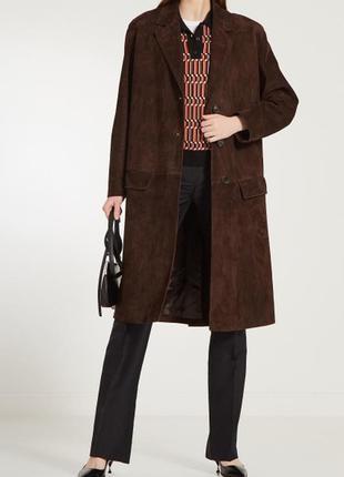 Замшевое коричневое пальто