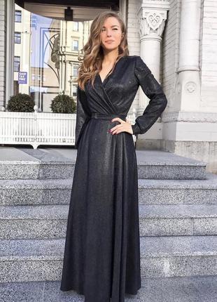 Черное блестящее вечернее платье длинное люрекс с рукавом