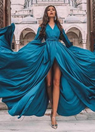 Вечернее платье в пол бирюза изумруд с разрезом