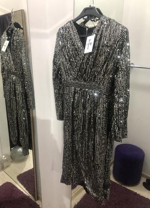 Красивое блестящее вечернее платье люкс паетка черное серебро ...