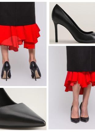 Туфли лодочки кожаные на каблуке 41 42 черные