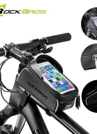 Велосумка на раму для телефона Rockbros ReflectiveTop, нарамна...