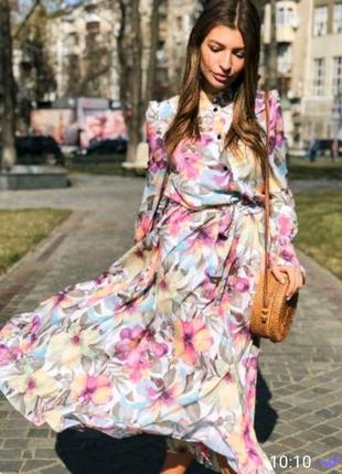 Платье в цветы, платье рубашка, платье миди