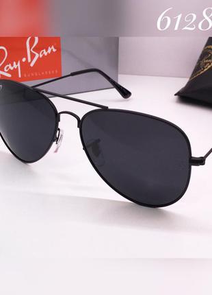 Стильные солнцезащитные очки ray ban aviator черные с поляриза...