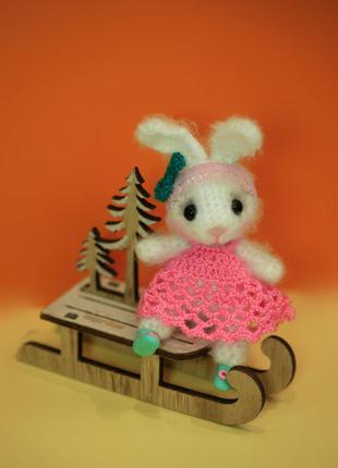 Брелок для сумки зайчик в розовом платье