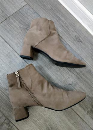Сапожки деми осень полуботинки на блочном каблуке нюд коричнев...