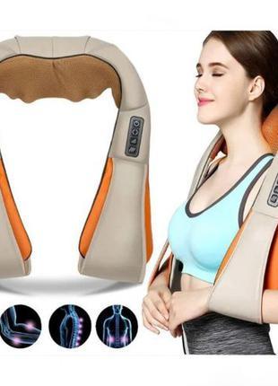 Роликовый электро массажер с ИК-прогревом для спины и шеи Mass...