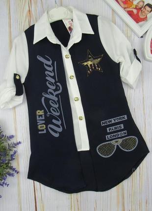 Легкая летняя блузка-туника для девочек