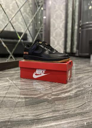 Мужские черные кроссовки nike air force low gore-tex black