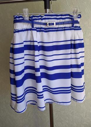Шифоновая юбка на подкладке с поясом