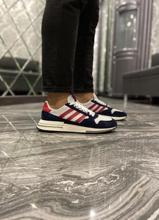 Мужские кроссовки adidas zx 500 blue white red