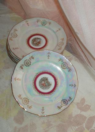 Фарфор винтаж 6 закусочных/десертных тарелок Weimar Porzellan ГДР