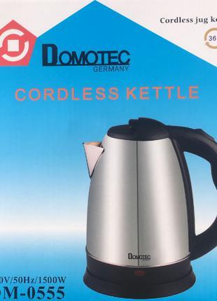 Электрический чайник Domotec (2л) DM-0555, металлический чайник,