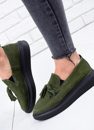 ❤ женские зеленые замшевые  туфли лоферы ❤