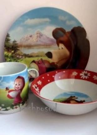 Набор детской посуды Маша и медведь 3-х.шт.