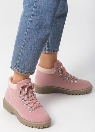 Новые женские зимние розовые ботинки