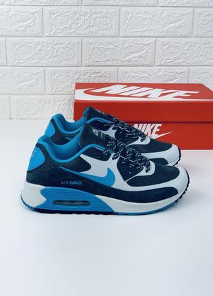 Nike air max 90 blue-grey кроссовки мужские найк аир макс