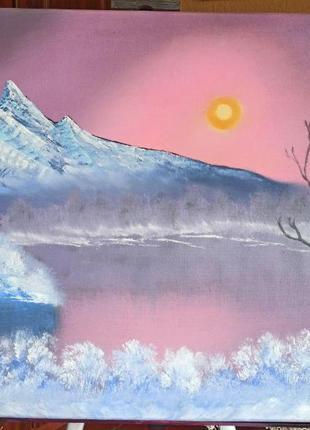 """""""Морозная зима"""" картина маслом"""