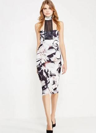 Платье-карандаш миди с сеткой цветочный принт рисунок лилии bo...