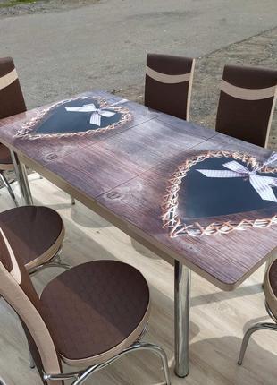 СТОЛ СТЕКЛО стеклянный обеденный рисунок 3Д комплект стулья