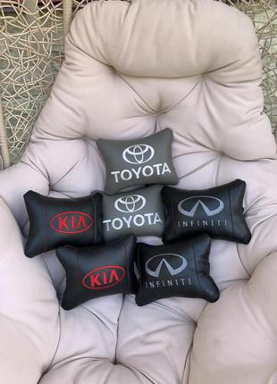 Подушка на подголовник в авто c логотипом - оригинальный подарок