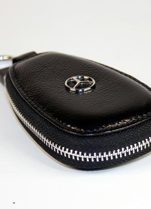 Брелок Mercedes кожаный, чехол для ключей, ключница
