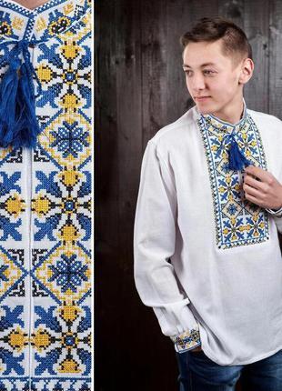 Рубашка вышиванка из домотканого полотна р.48-60