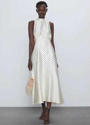 Платье zara горошек молочное под шелк