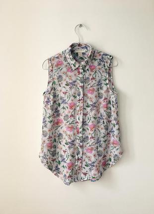 Шифоновая белая рубашка без рукавов h&m біла блуза з квітковим...