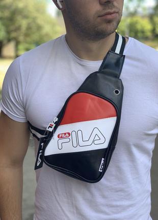 Сумка мужская спортивная Fila рюкзак через плечо, сумка-месене...