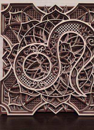 Мандала знак зодиака Лев, объемная картина