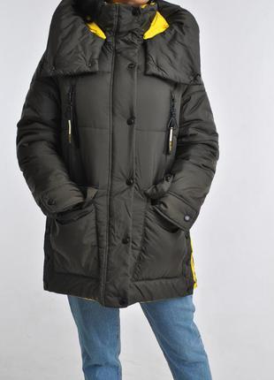 Неймоверная зимняя куртка парка со съемным капюшоном и поясом