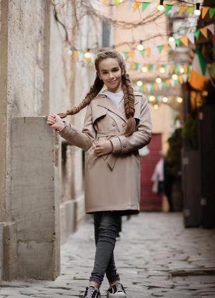 Стильный тренч плащ пальто девочке