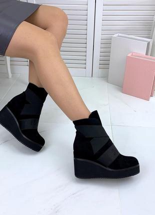 Осень стильные замшевые сникерсы ботинки на танкетке качество ...