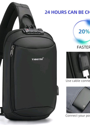 Рюкзак сумка Tigernu однолямочный TSA блокиратор usb порт