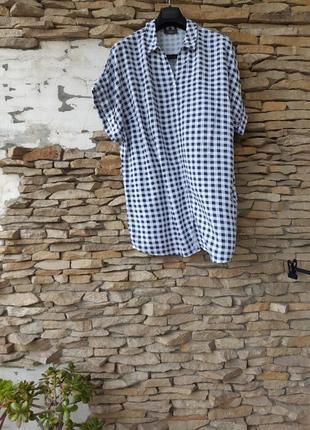Удлинённая вискозная рубашка туника большого размера