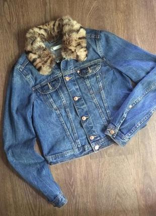 ❤️❤️❤️джинсовая куртка с натуральным мехом