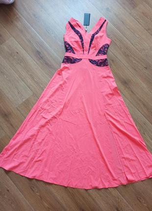 Платье в пол расклешенный сарафан с разрезами