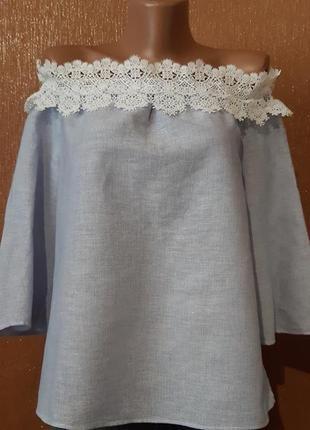 Блузка на плечи с кружевом лён,коттон размер 6-8 zara