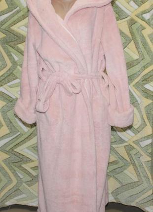 Турция женский длинный махровый халат на запах с капюшоном