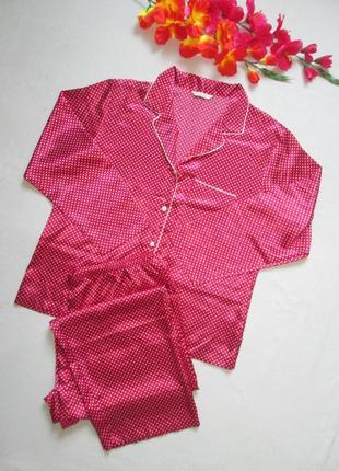 Классная легкая атласная пижама домашний костюм в мелкий горох...