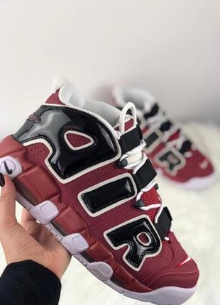 Nike air more uptempo red black white.