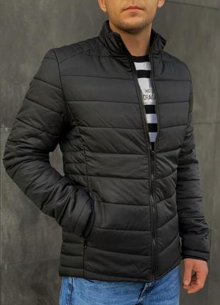 Мужская весенняя чёрная куртка пуховик