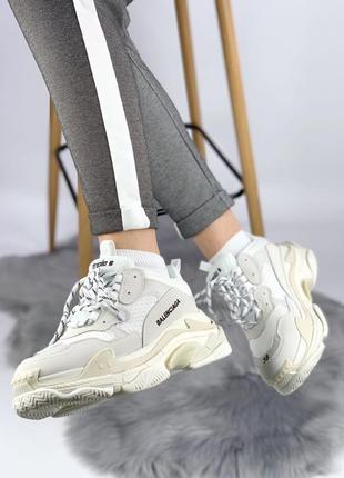 Белые женские кроссовки triple s white cream