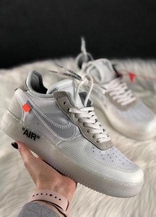 Мужские белые кроссовки nike air force 1 off white.