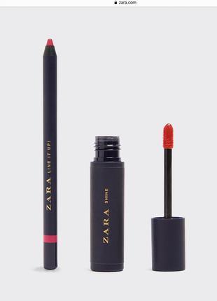 Набор контурный карандаш + блеск для губ зара, zara
