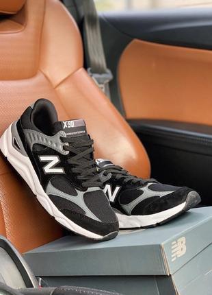 Черно-белые мужские кроссовки new balance x90 black grey