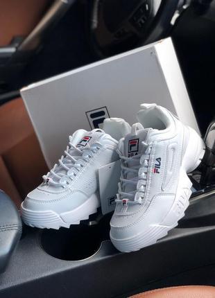 Белые женские кроссовки fila disruptor ii white